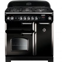 Rangemaster CLA90DFFBL/C Classic 90cm Dual Fuel Range Cooker - Black with Chrome