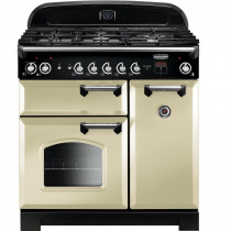 Rangemaster CLA90DFFCR/C Classic 90cm Dual Fuel Range Cooker - Cream with Chrome
