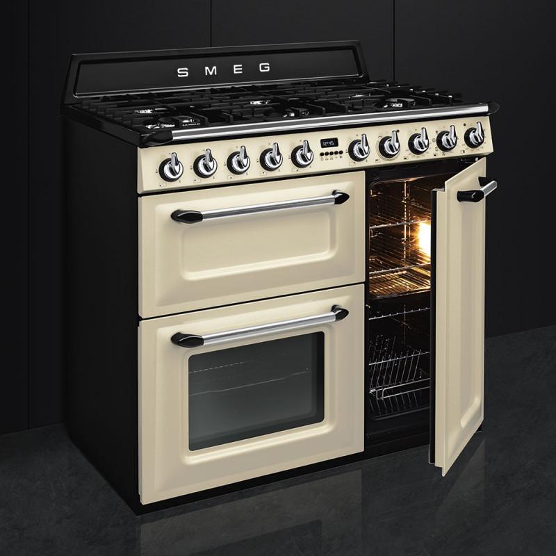 Smeg Victoria TR93P 90cm Dual Fuel Range Cooker - Cream