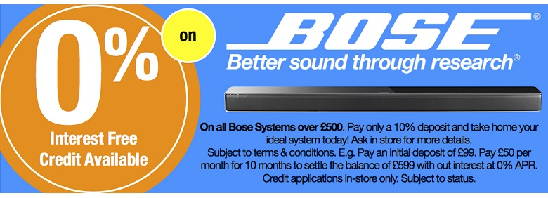 Bose 0% Interest Free Credit. Subject to Status, Ts & Cs apply. See in-store for details